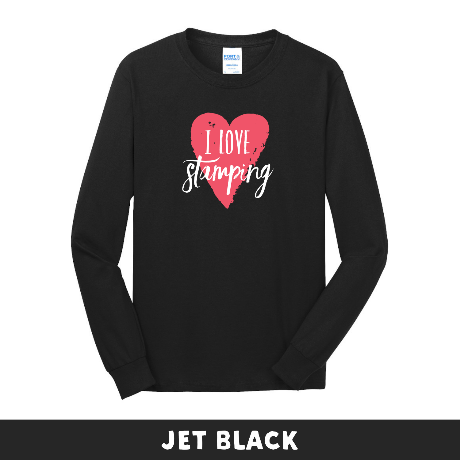 Jet Black - Long Sleeve Unisex T-Shirt - I Love Stamping
