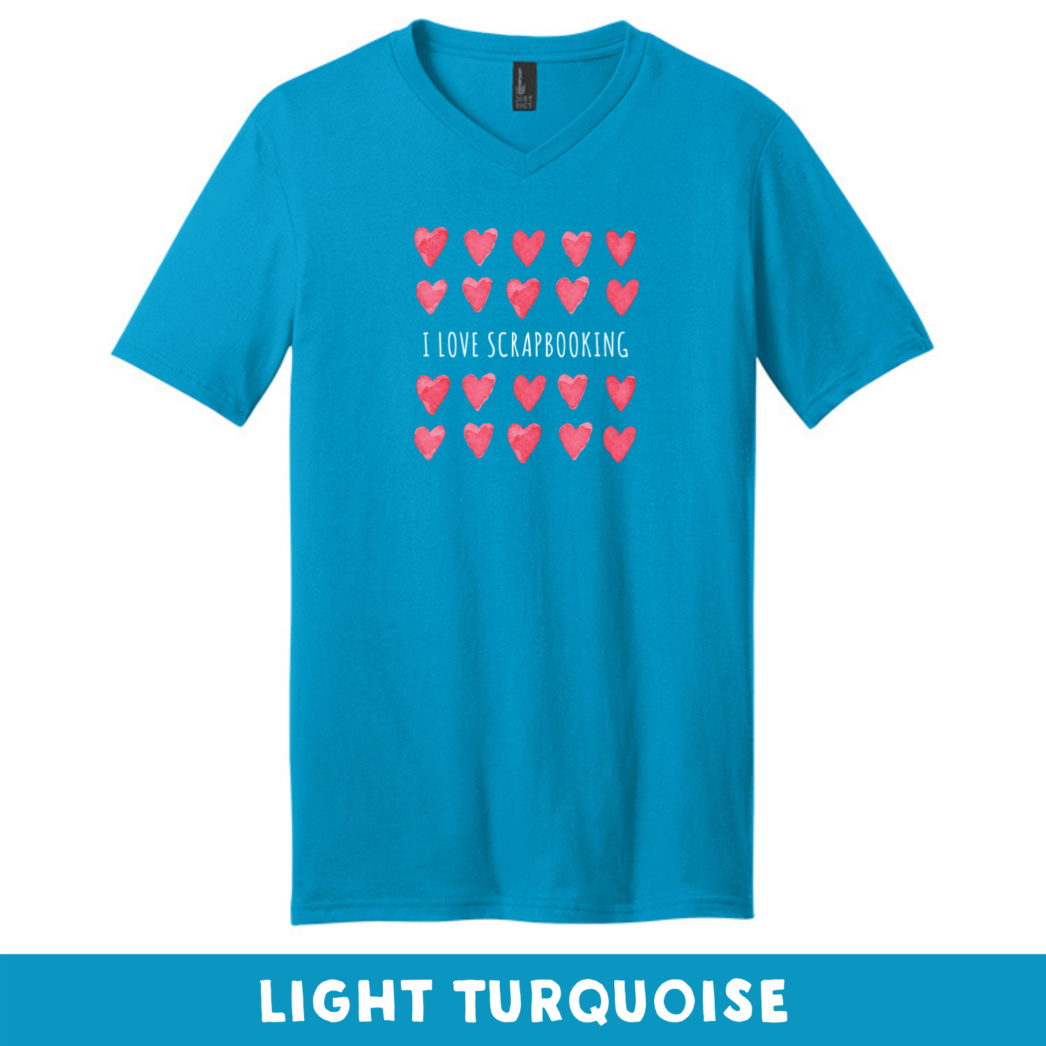 Light Turquoise - Extra Soft Unisex V-Neck - I Love Scrapbooking
