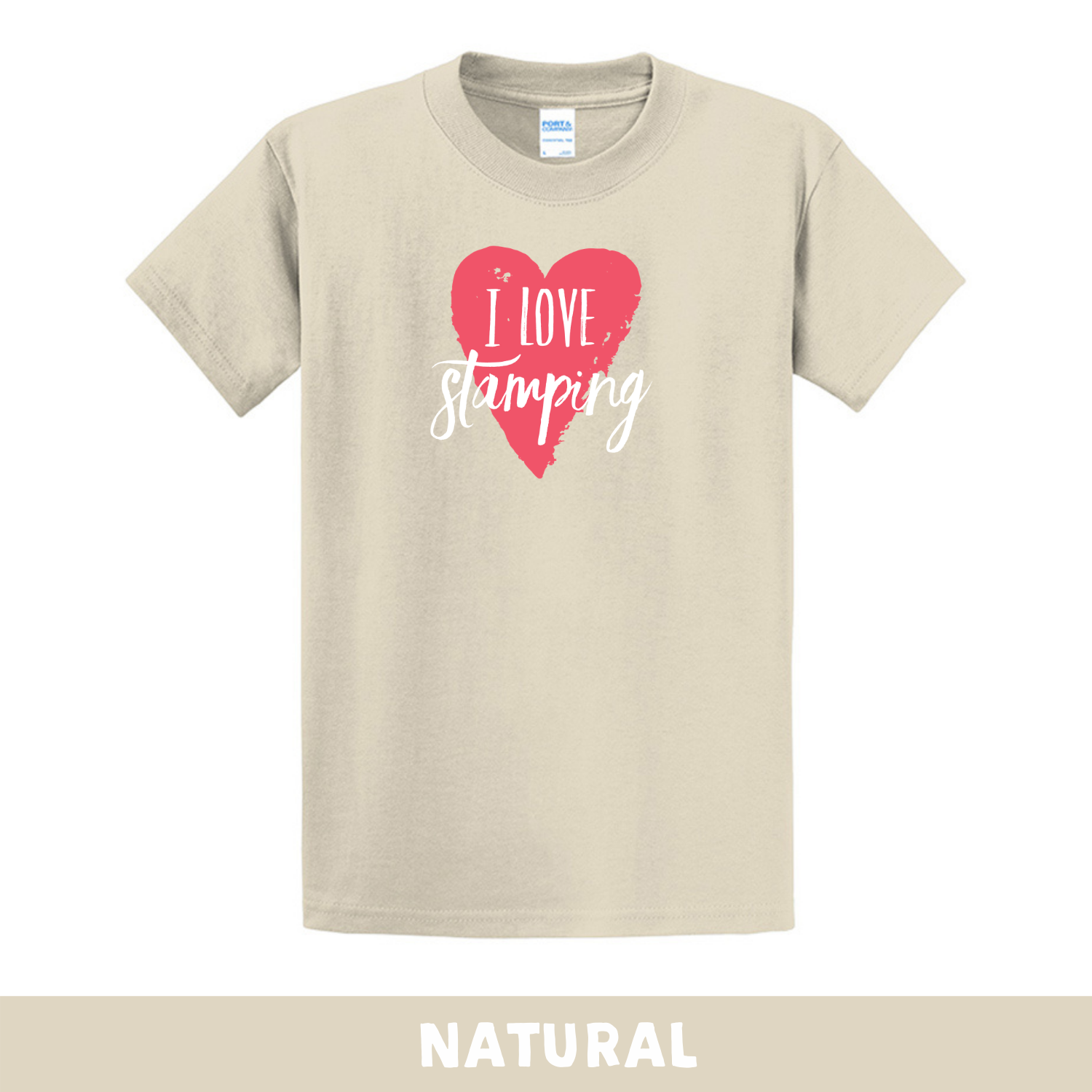 Natural - Crew Neck Unisex T-Shirt - I Love Stamping