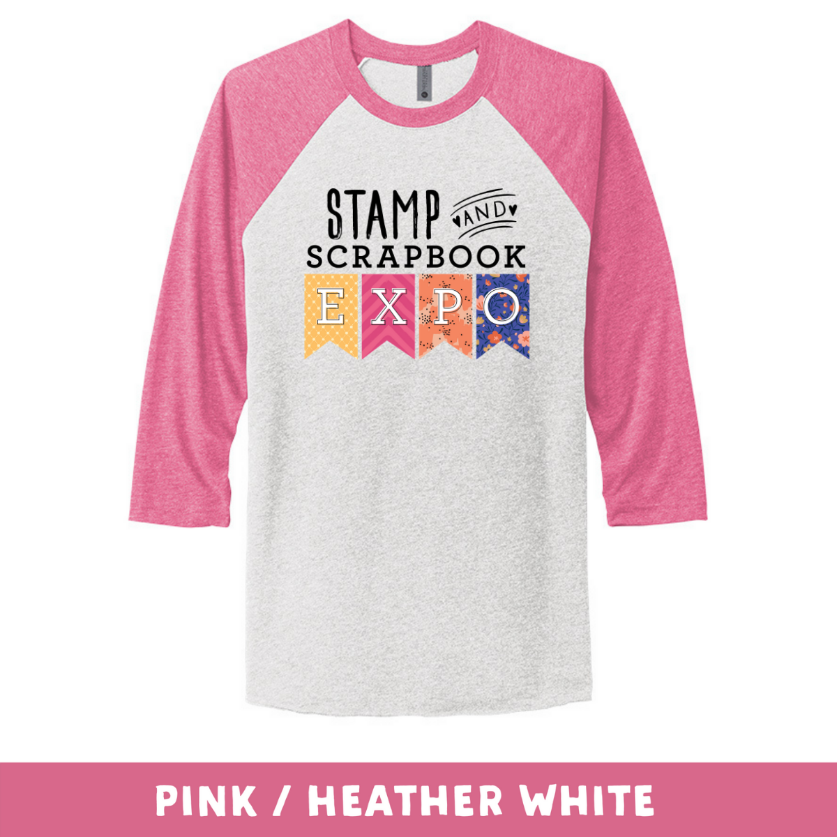 Pink Heather White - Unisex Tri-Blend 3/4 Sleeve Raglan Tee - Stamp & Scrapbook Expo Color Logo