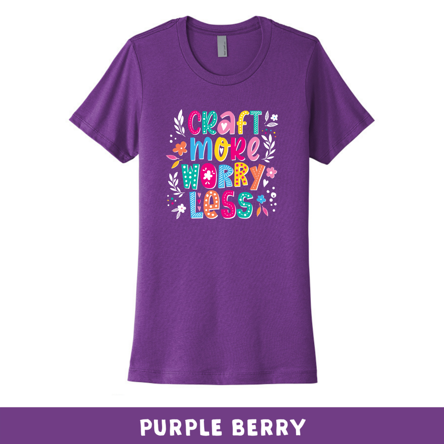 Purple Raspberry - Crew Neck Boyfriend Tee - Craft More Worry Less