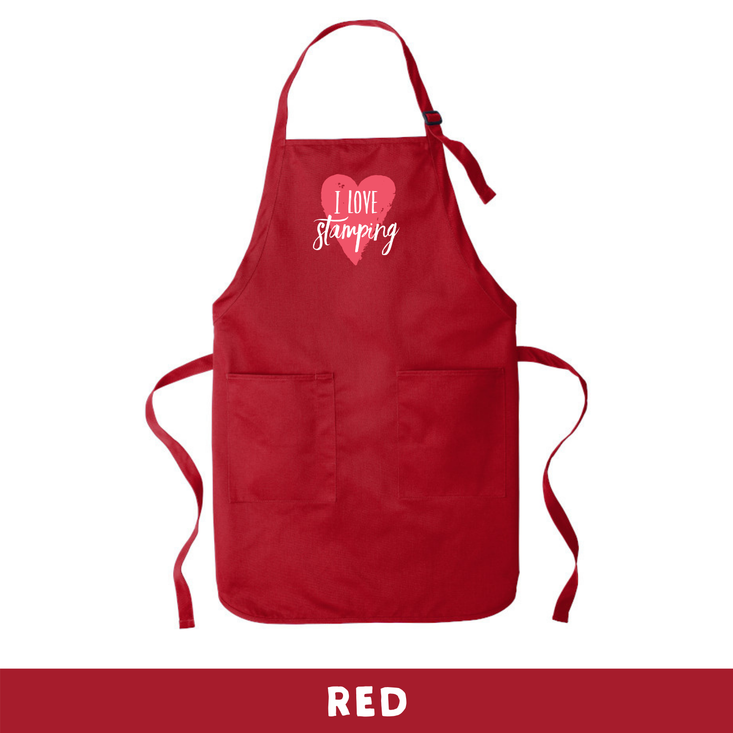 Red - Apron - I Love Stamping
