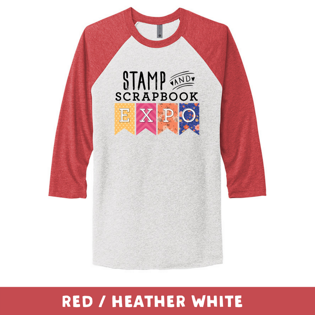 Red Heather White - Unisex Tri-Blend 3/4 Sleeve Raglan Tee - Stamp & Scrapbook Expo Color Logo