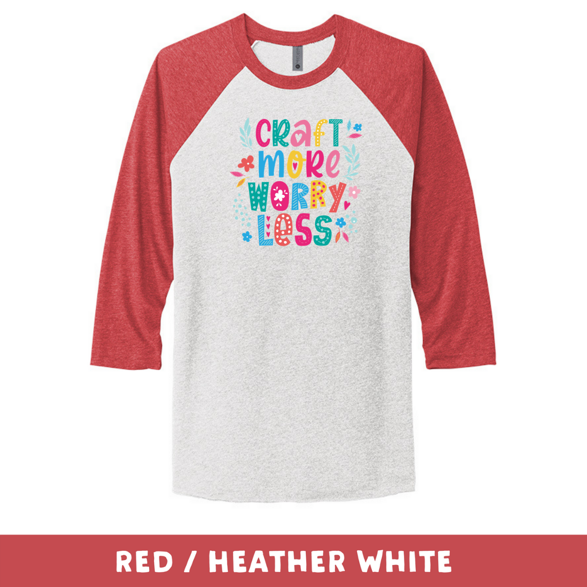 Red Heather White - Unisex Tri-Blend 3/4 Sleeve Raglan Tee - Craft More Worry Less