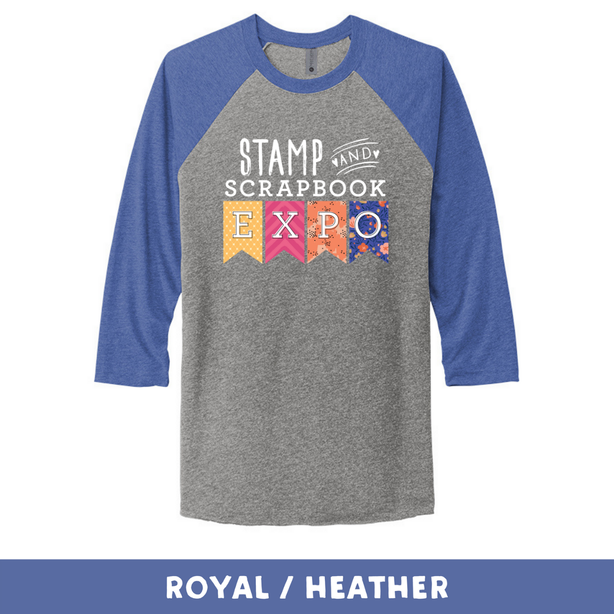 Royal Heather - Unisex Tri-Blend 3/4 Sleeve Raglan Tee - Stamp & Scrapbook Expo Color Logo