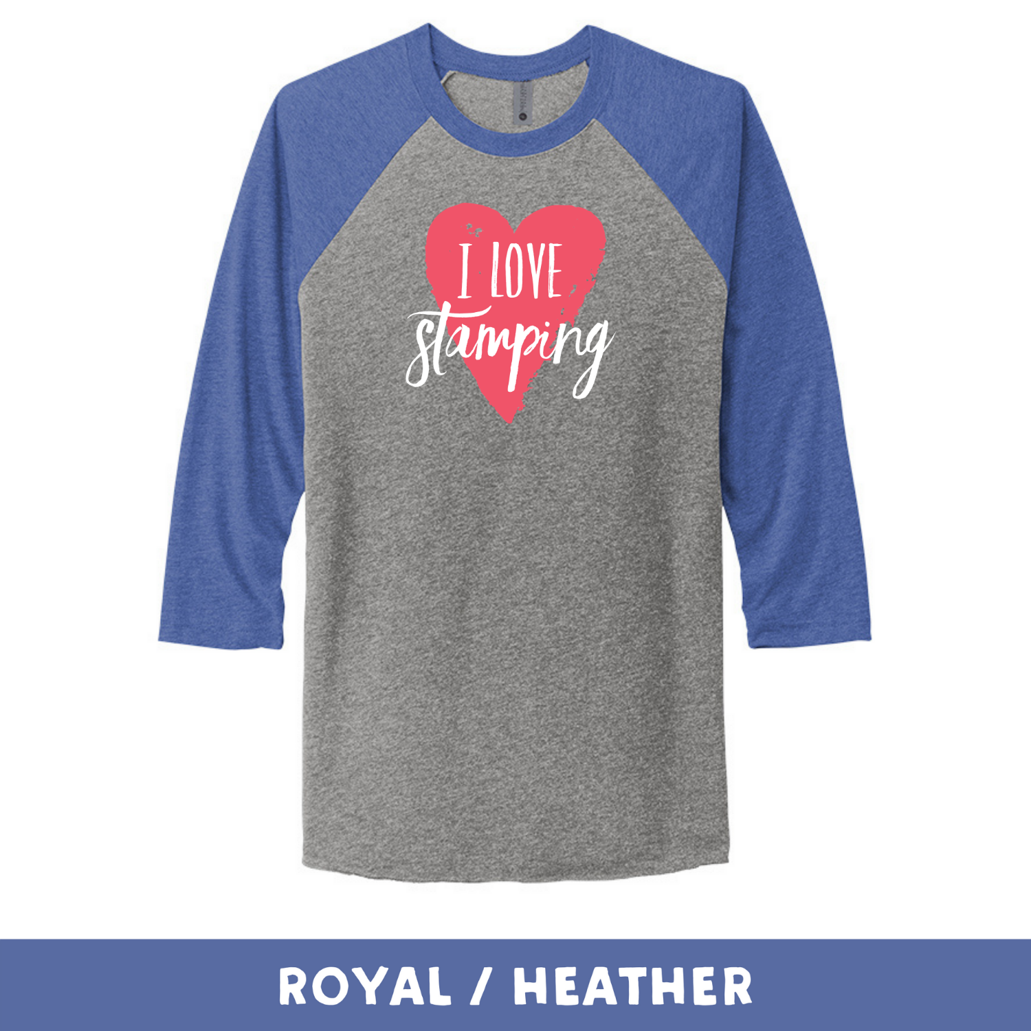 Royal Heather - Unisex Tri-Blend 3/4 Sleeve Raglan Tee - I Love Stamping