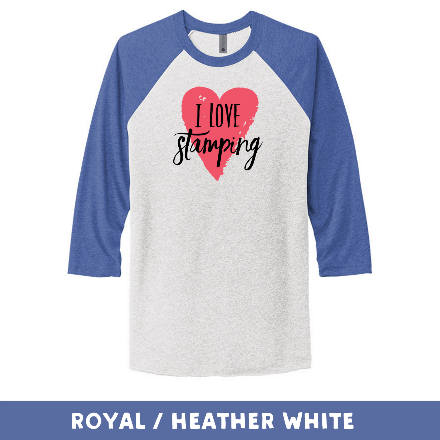 Royal Heather White - Unisex Tri-Blend 3/4 Sleeve Raglan Tee - I Love Stamping