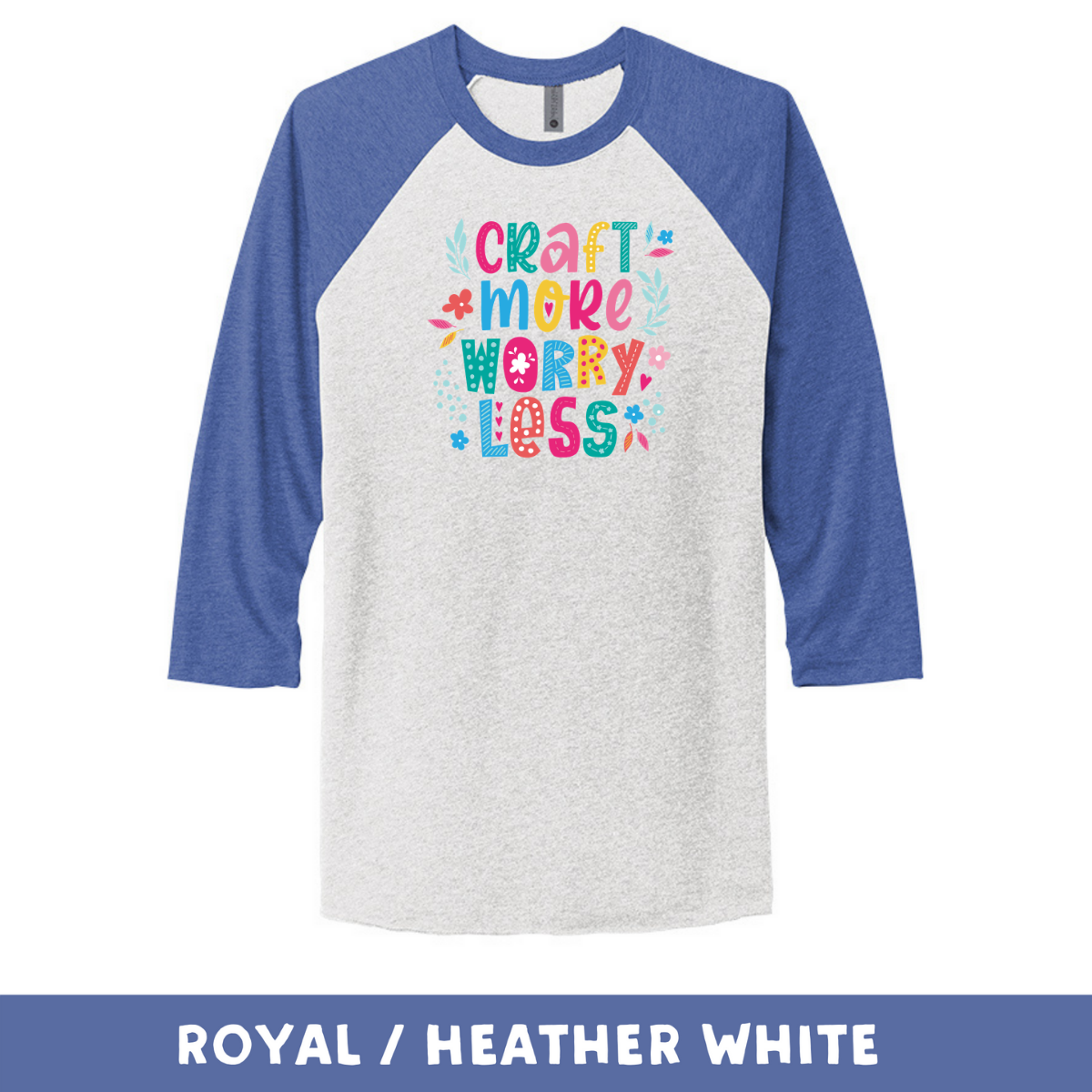 Royal Heather White - Unisex Tri-Blend 3/4 Sleeve Raglan Tee - Craft More Worry Less