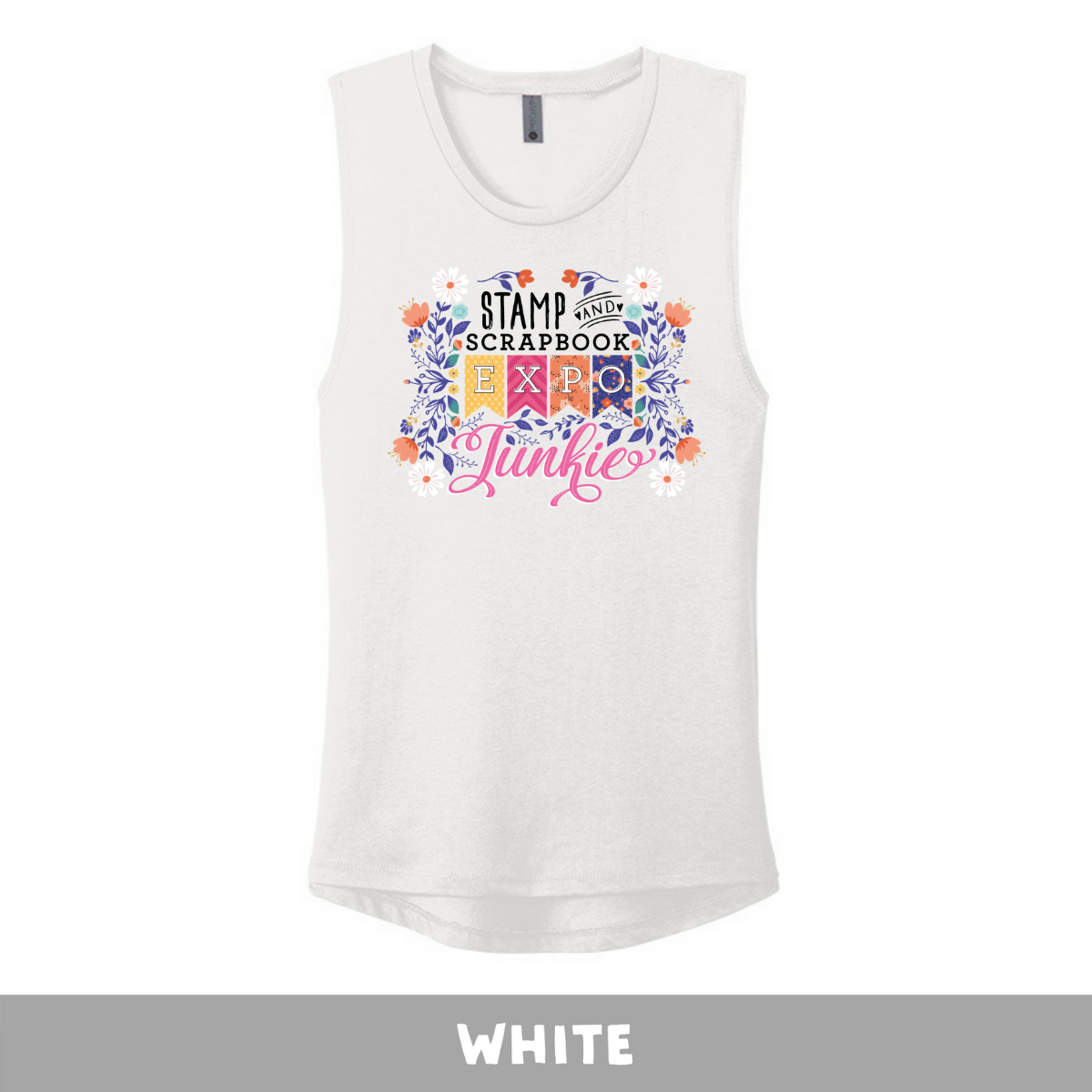 White - Women's Festival Tank Top - SSBE Junkie with Flowers