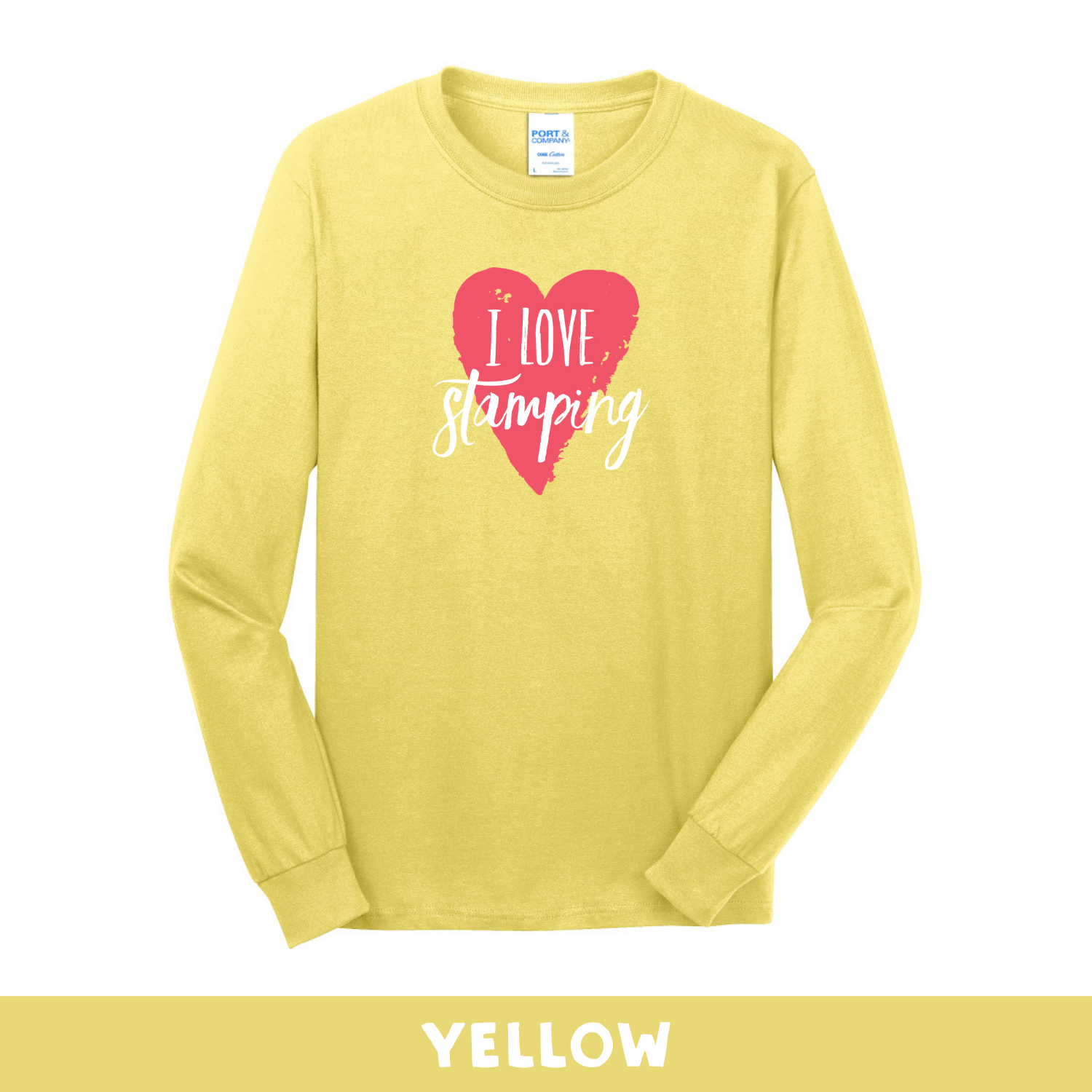 Yellow - Long Sleeve Unisex T-Shirt - I Love Stamping