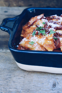 sweet potato agnolotti, with sun-dried tomatoes, pink sauce (2-3 portion pan)