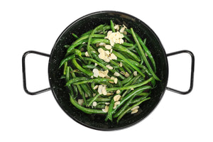 blanched french green beans with toasted almonds & evoo (2 size options)