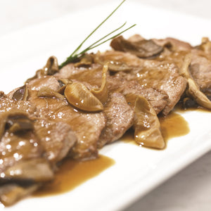 veal scallopini - roasted mushroom and thyme jus (per portion, 3 pcs)