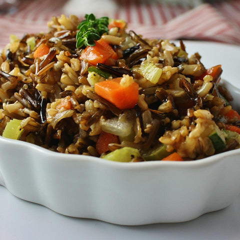 wild and brown rice pilaf with vegetable confetti (2 size options)