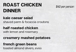 Roast Chicken Dinner Menu (per person)