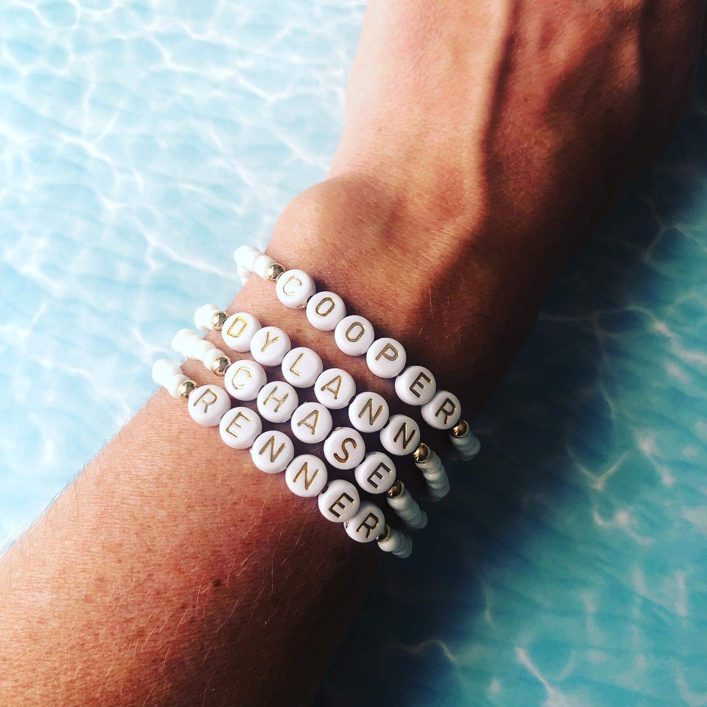 White Summer Bracelet with gold or silver accent