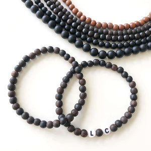 The Eric, Men's Initial or Name Bracelet with Dark Brown Wooden Beads