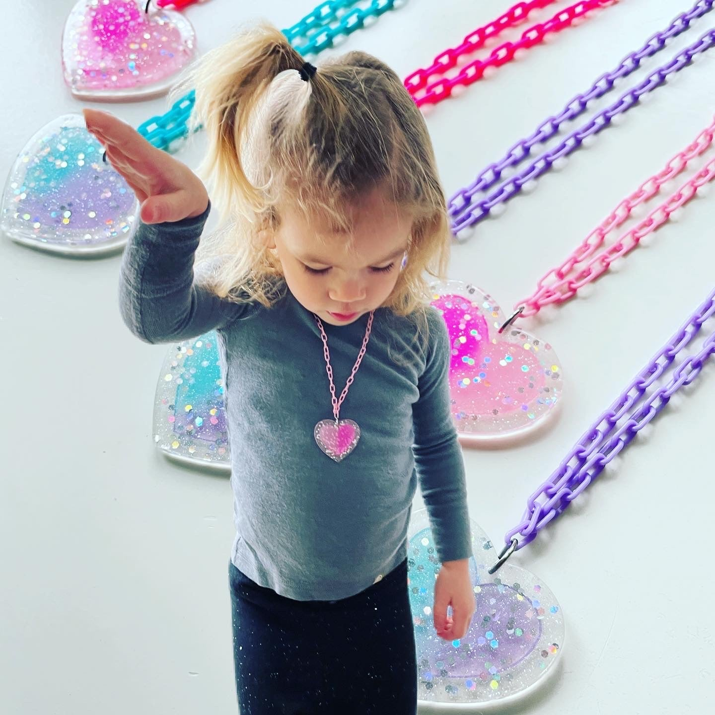 Rainbow Brite Glittery Heart Kids Necklace
