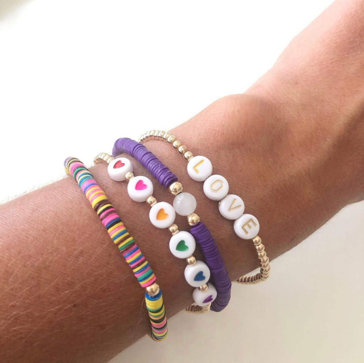 The Dana Rainbow Heart Bracelet