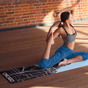 Woman with custom Chicago Print yoga mat