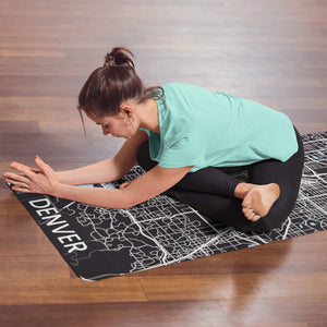Woman Stretching with personalized Denver Yoga mat