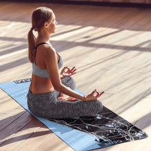 Load image into Gallery viewer, Woman meditating on personalized Miami print yoga mat