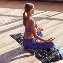 Load image into Gallery viewer, Meditating in the sun on a printed personalized yoga mat