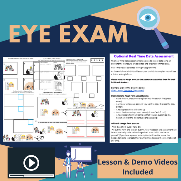 Eye Exam with 2 Video Lessons & 8 Activities