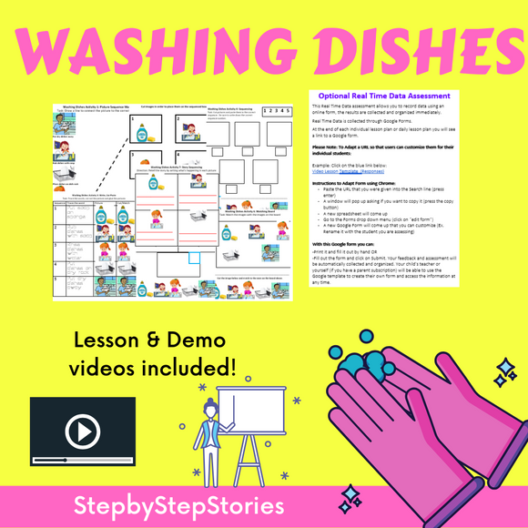 Washing Dishes with 2 Video Lessons & 8 Activities
