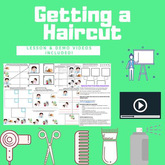 Getting a Haircut with 2 Video Lessons & 8 Activities