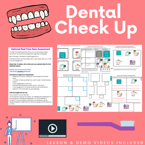 Dental Check Up with 2 Videos & 8 Activities