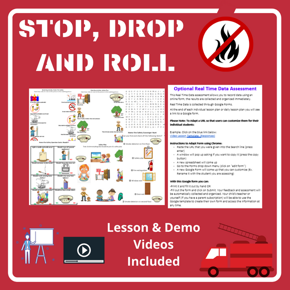 Stop, Drop and Roll with 2 Videos & 8 Activities