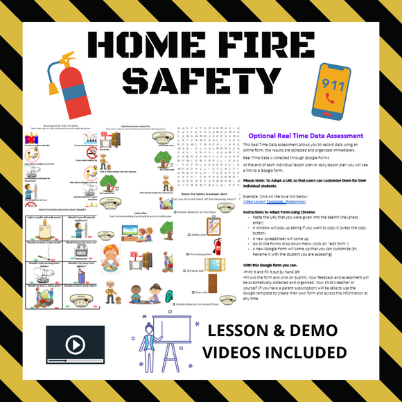 Home Fire Safety with 2 Videos & 7 Activities