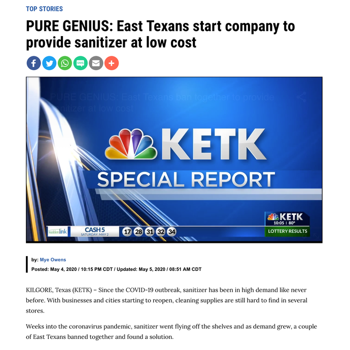 "KETK FOX 51: ""PURE GENIUS: East Texans start company to provide sanitizer at low cost"""
