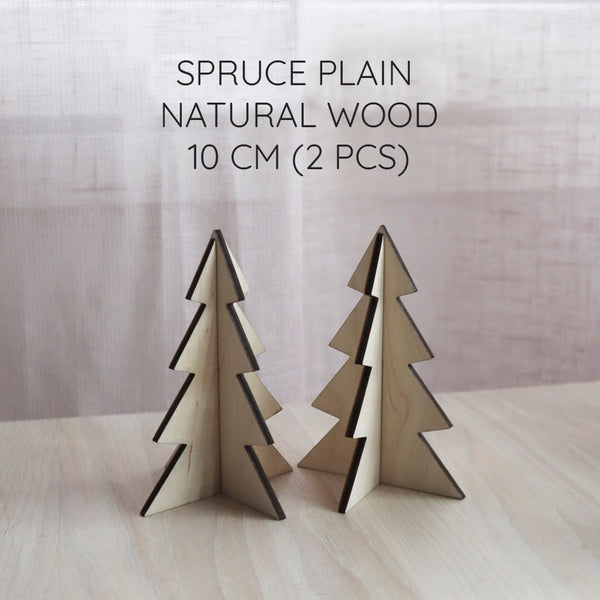 Wooden christmas trees 2 pcs (height 10 cm)