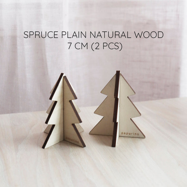 Wooden christmas trees 2 pcs (height 7 cm)