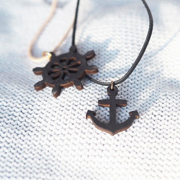 Wooden anchor - necklace