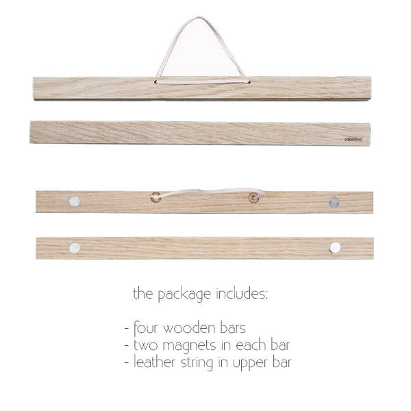 Wooden magnetic poster hanger oak leather