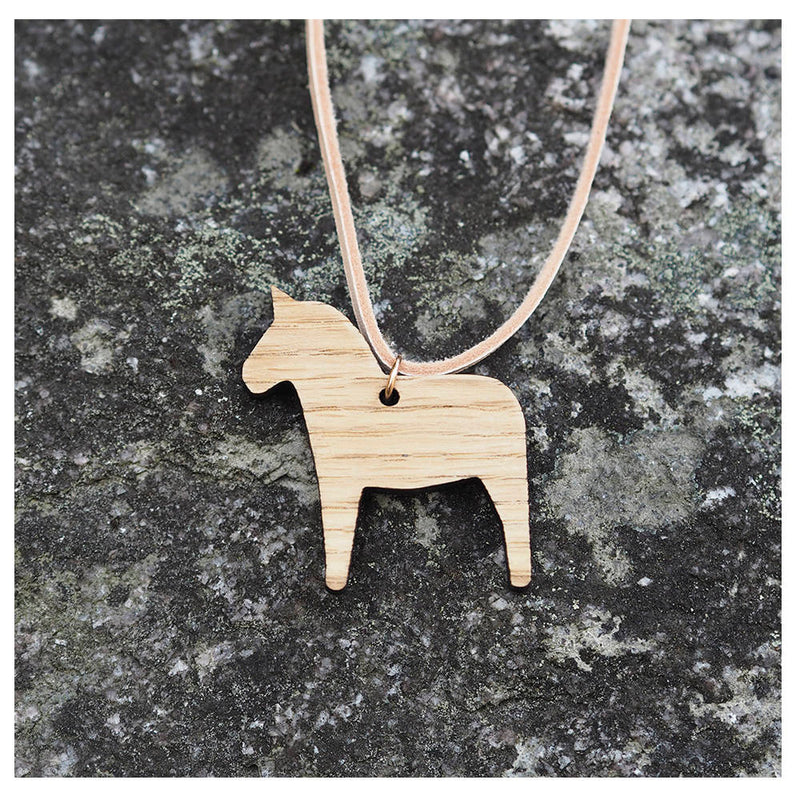 Wooden horse necklace