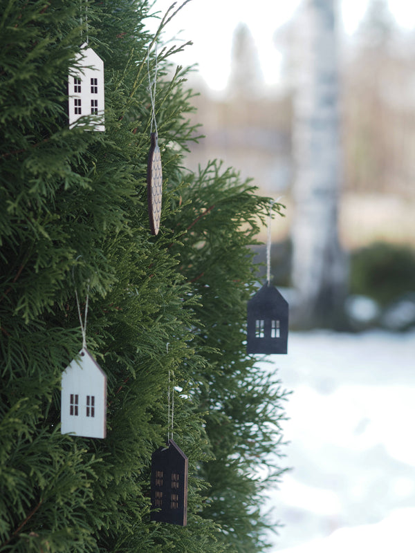 Wooden houses for christmas tree
