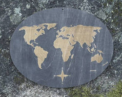 Wooden engraved world map