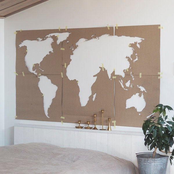 Wooden world map XL