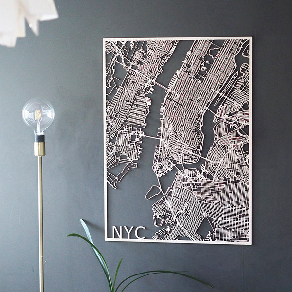 Wooden map of New York City