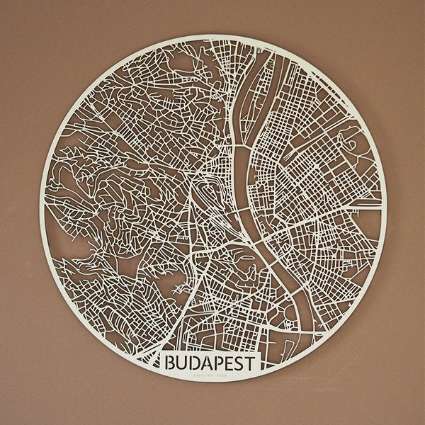 Wooden map of Budapest