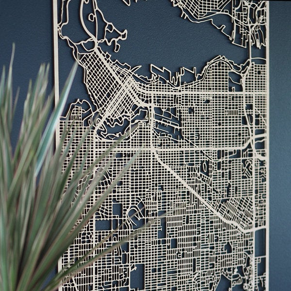 Wooden map of Vancouver
