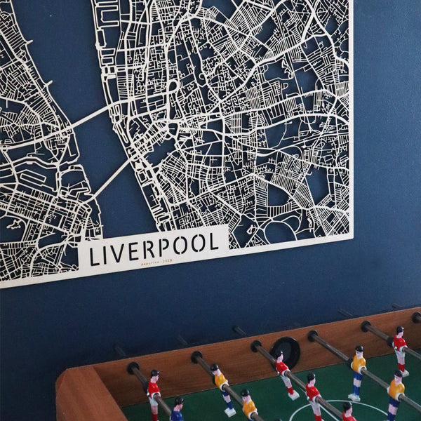 Wooden map of Liverpool