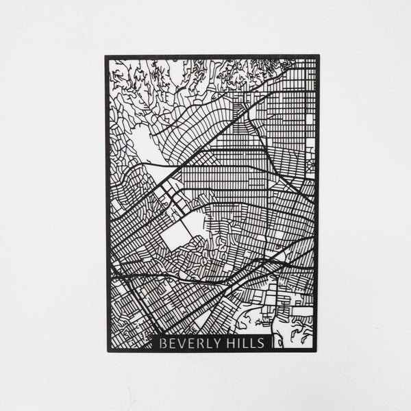 Wooden map of Beverly Hills LA