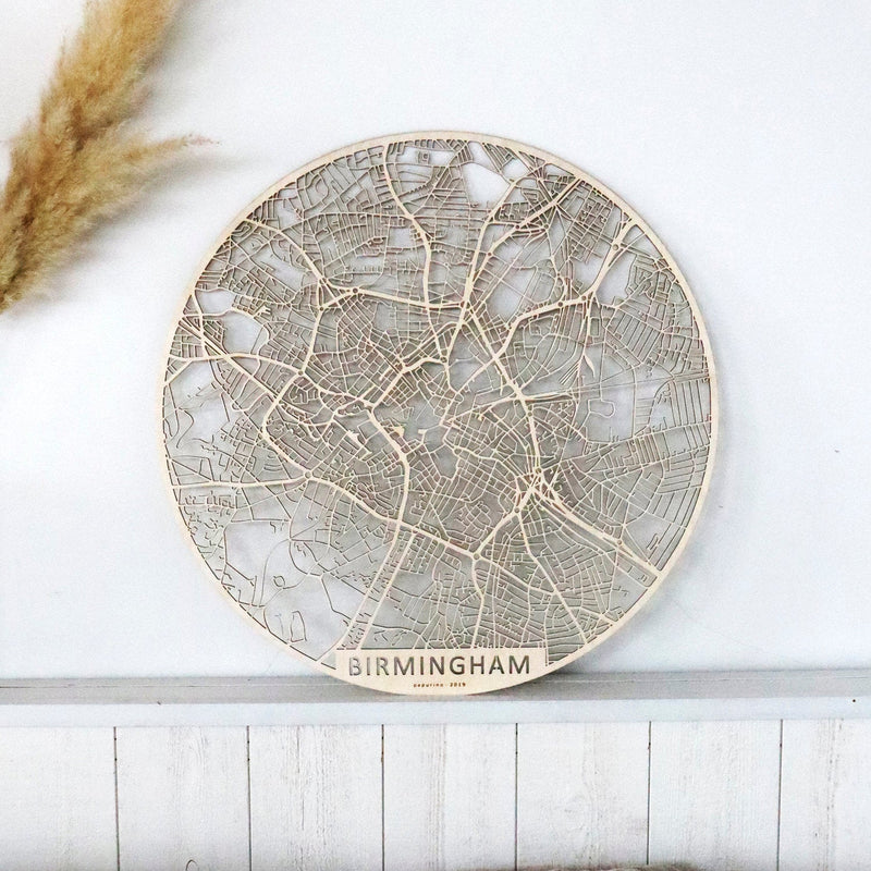 Wooden map of Birmingham