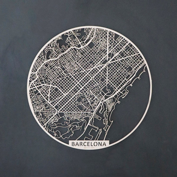 Wooden map of Barcelona