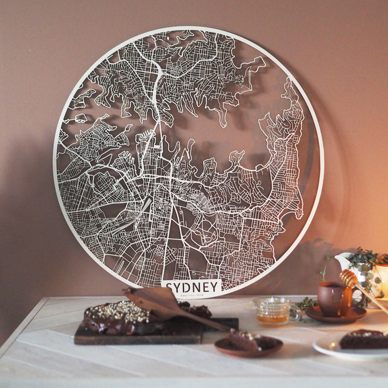 Wooden map of Sydney